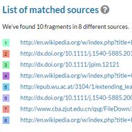 Liste over matchende kilder